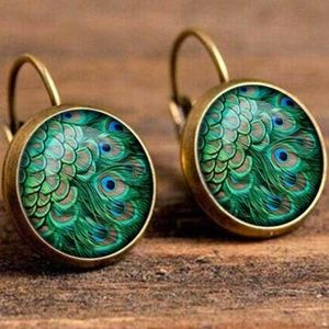 Jewelry - NEW Brass Color Green Peacock Animal Earrings